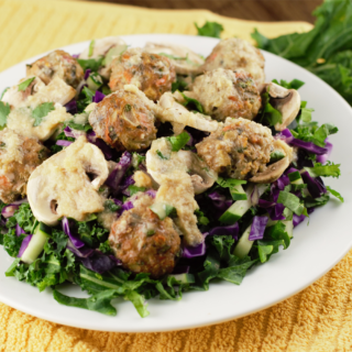 Ginger Kale Salad with Asian Turkey Meatballs