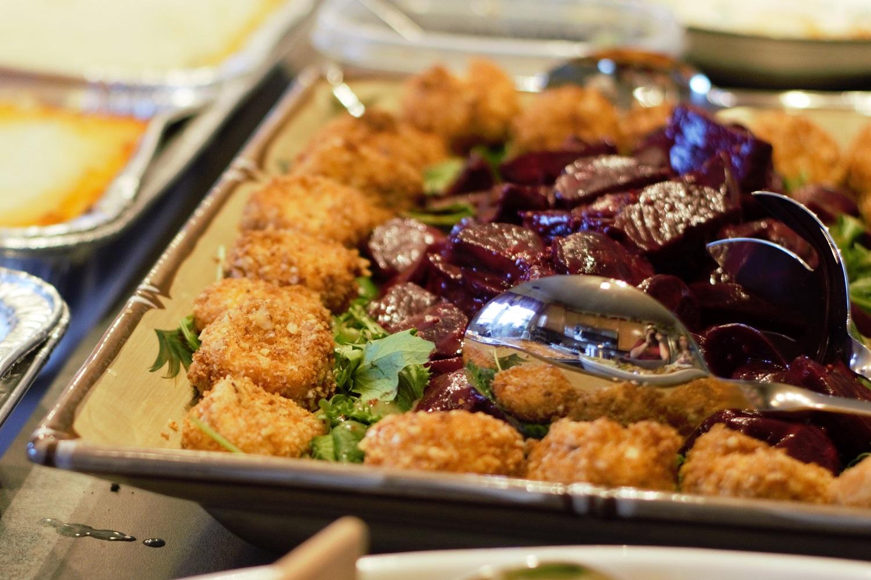 Maisano Family Irish Dinner & Rocket, Roasted Beets, and Goat Cheese Salad