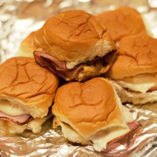 Hot Ham, Mozzarella, & Caramelized Onion Sliders
