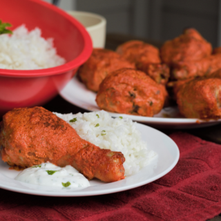 Baked Tandoori Drumsticks with Coconut Rice | Mountain Cravings