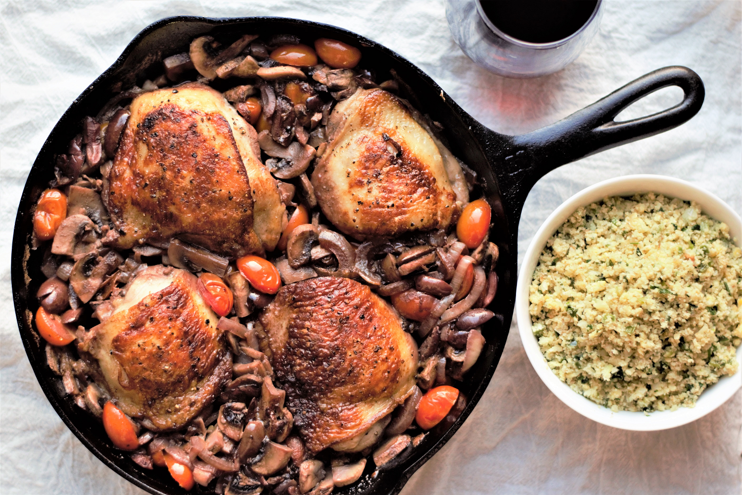 Skillet Chicken with Mushrooms & Olives