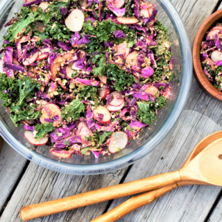 This kale slaw salad stays crunchy hours after adding dressing, perfect for picnicking! Kale & red cabbage pair with spicy radish & mexican-ish dressing.