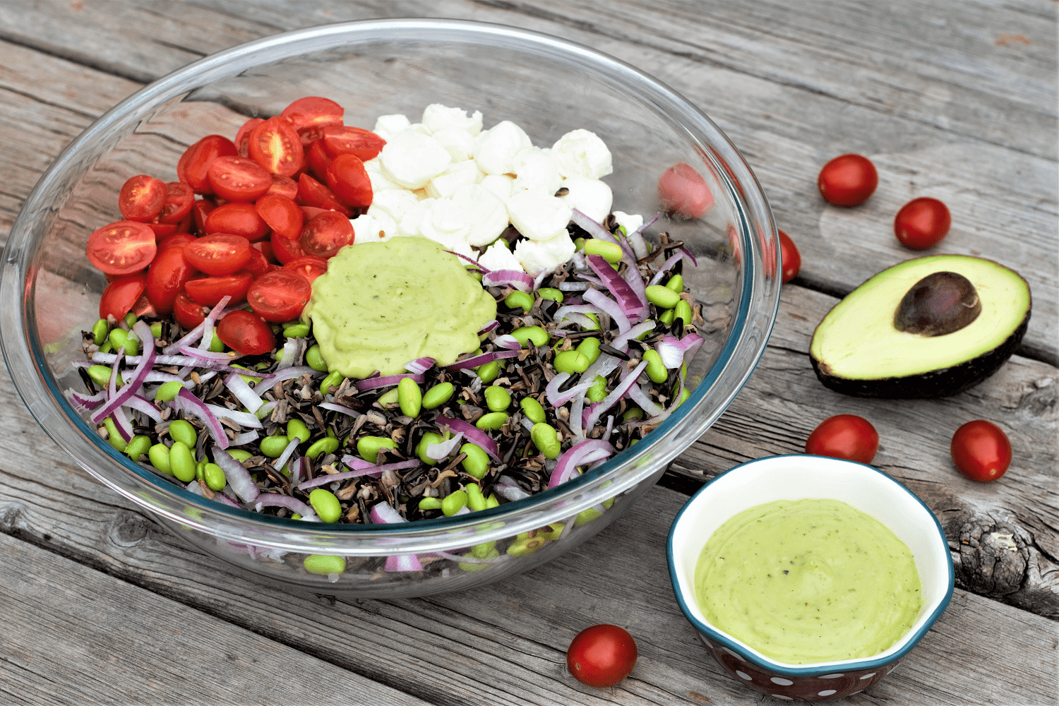Wild Rice Edamame Salad with Avocado Basil Dressing
