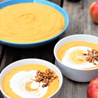 Butternut Apple Coconut Soup with Roasted Butternut Seeds