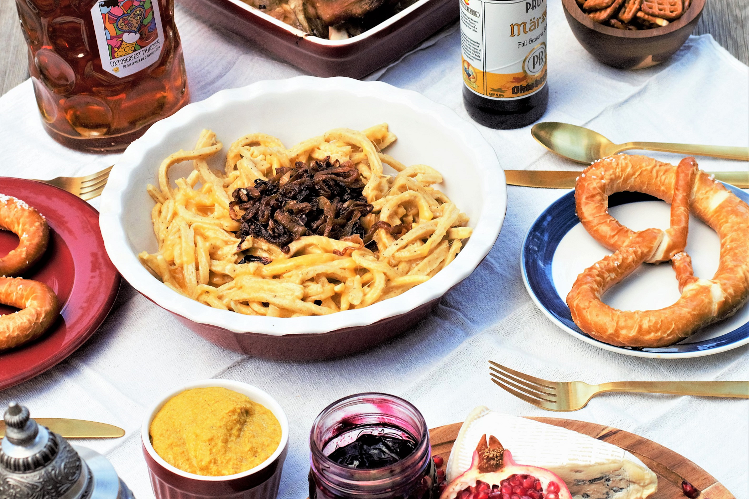 Soft, pillowy cheese noodles lightly spiced with nutmeg, basically the German version of creamy mac & cheese that's perfect for soaking up Oktoberfest beer.