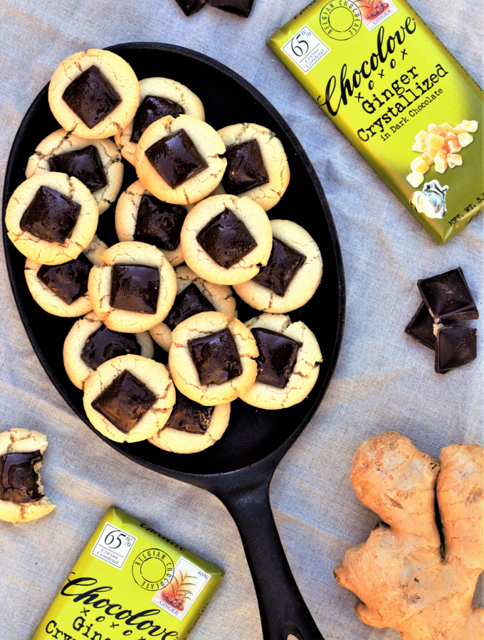 The grown-up version of childhood peanut butter kiss cookies: squares of dark chocolate flecked withcrystallized ginger cozied up with shortbread!