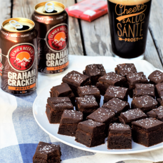 Brownies-meet-fudge flavored with Graham Cracker Porter & sprinkled with coarse sea salt for contrast are addictingly irresistible - you've been warned!