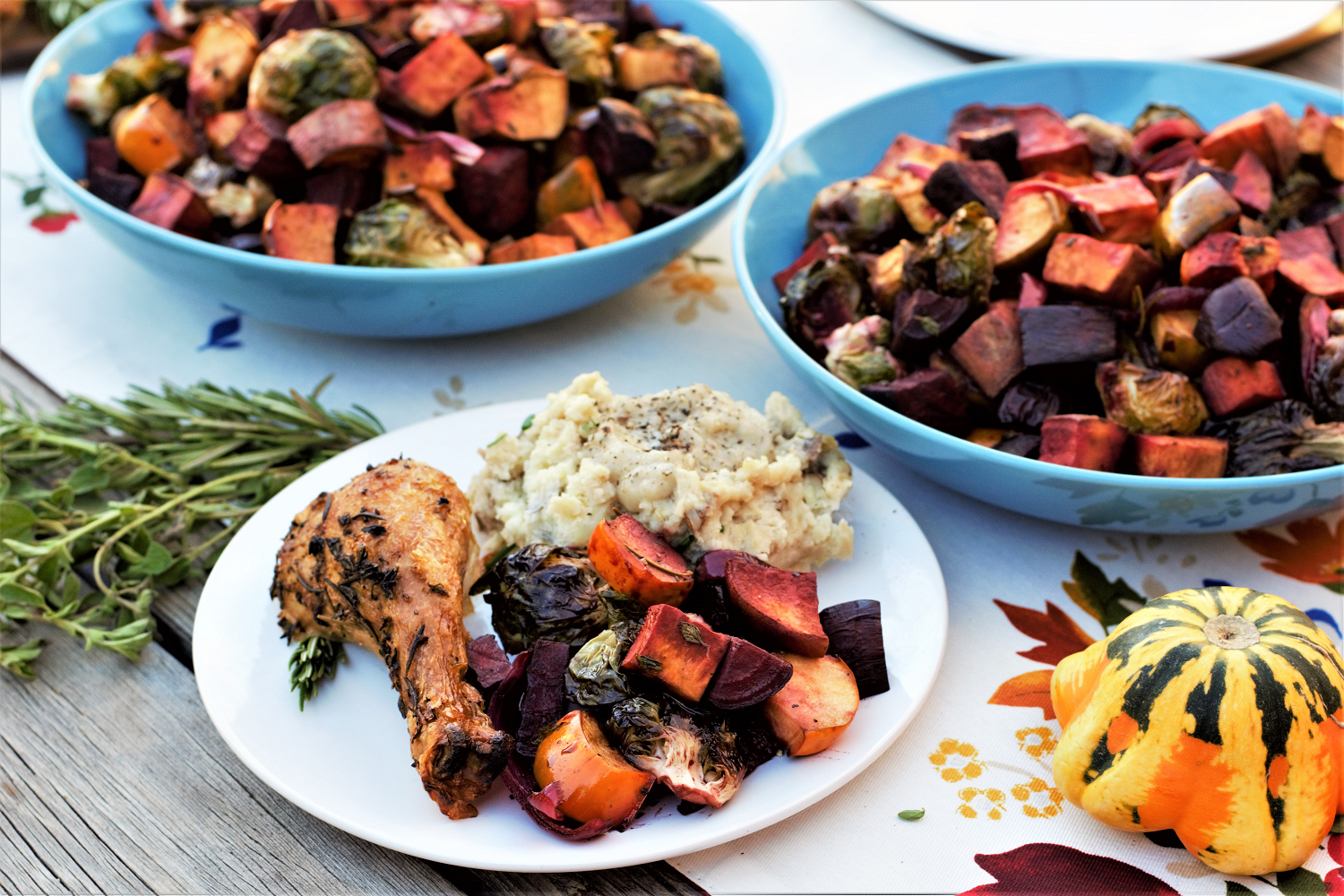 Roasted squash, sweet potatoes, beets, & sprouts coated with sweet-tart glaze will brighten up your holiday table with a rainbow of jewel tones!