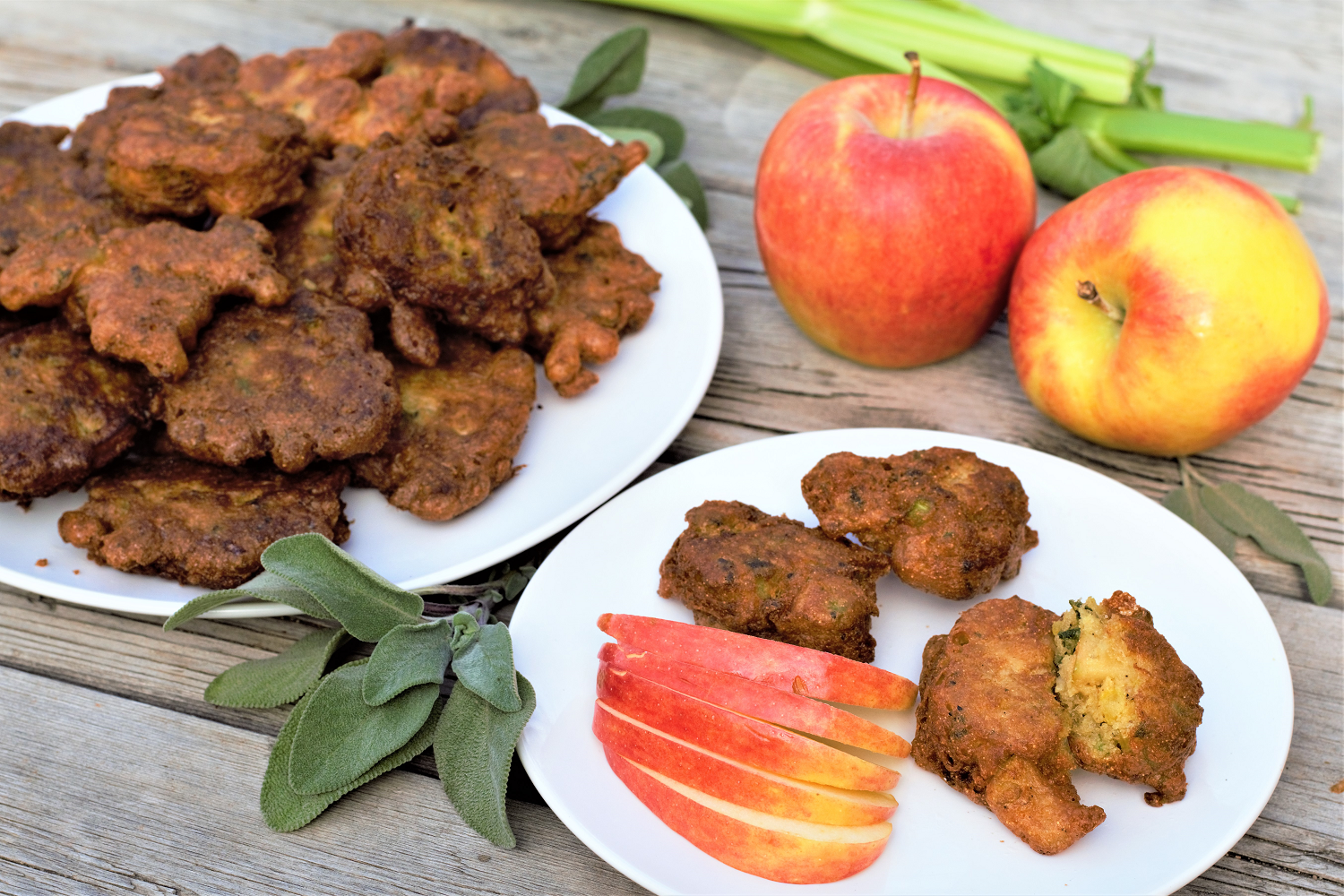 Pakora-inspired fritters stuffed with apples, celery, & onion, flavored with fresh sage fried in browned butter for an herby, rich Thanksgiving appetizer!
