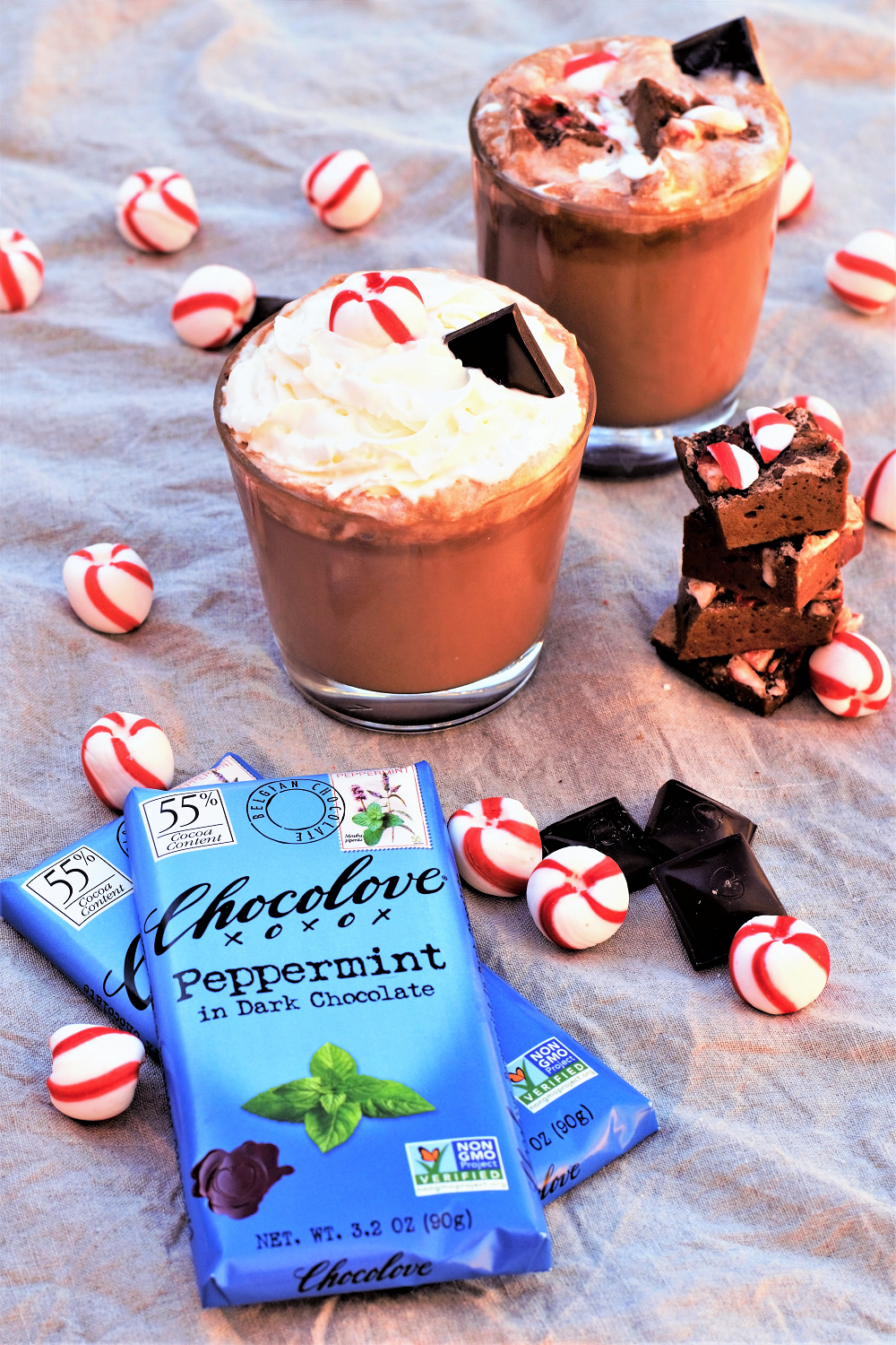 The richest velvety-smooth cocoa swirled with peppermint dark chocolate! Top with homemade peppermint chocolate marshmallows & watch the snowflakes fall.