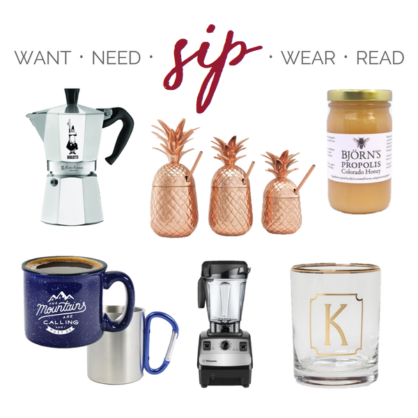 The holiday season's guide to shopping from the couch! Here's a collection of my favorites this year in five sections: Want, Need, Sip, Wear, Read. Cheers!