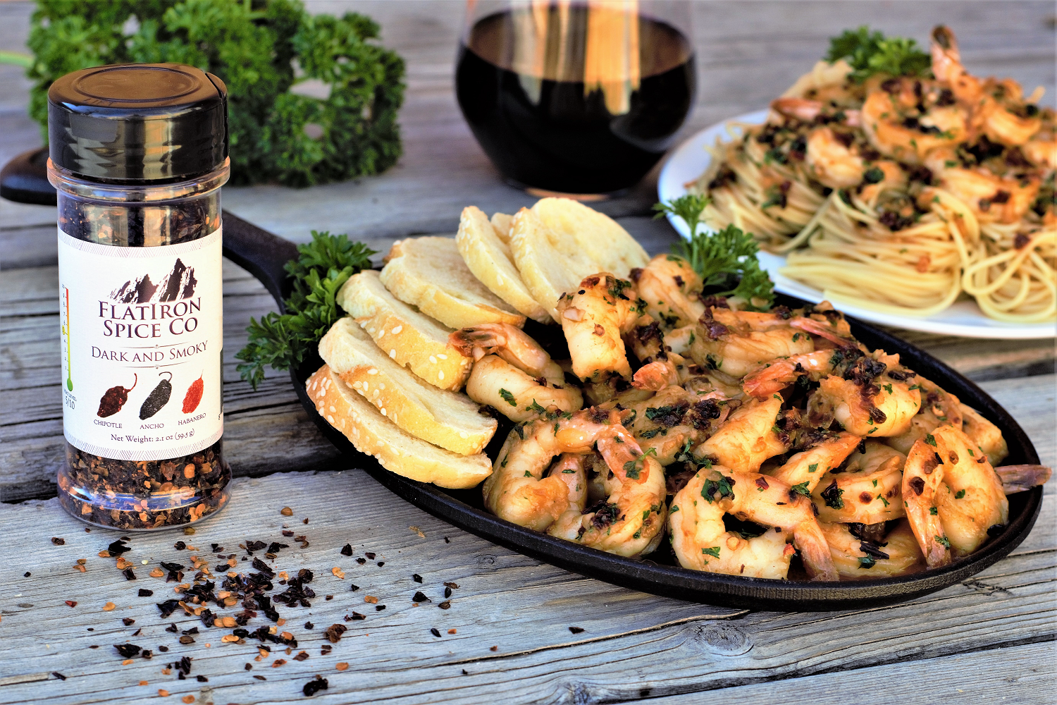 A blend of dried chipotle, ancho, & habanero peppers create an instantly deep smokiness to kick up this spoon-licking heavenly garlic shrimp scampi.