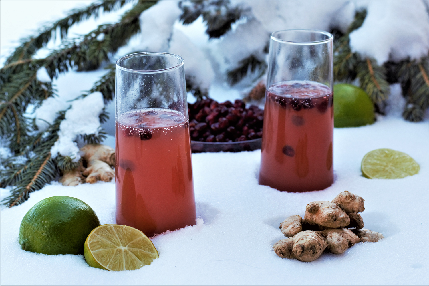 Putting an upscale twist on the classic mule by muddling fresh ginger with bright, fruity pomegranate juice and topping it off with champagne!