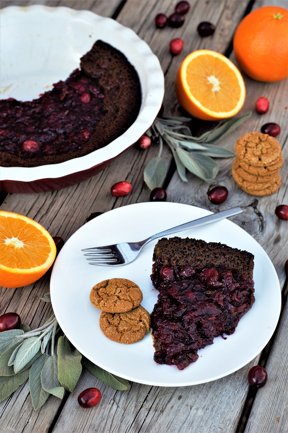 Fresh cranberry & orange zest filling is the best complement for gingersnap cookie crust, perfect for your holiday table or taking over to the neighbors!