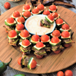 One giant delicious bite of meatballs, thick bacon, guacamole, jack cheese, & jalapeño slices skewered between cherry tomato 'buns' for the perfect healthyish party food!