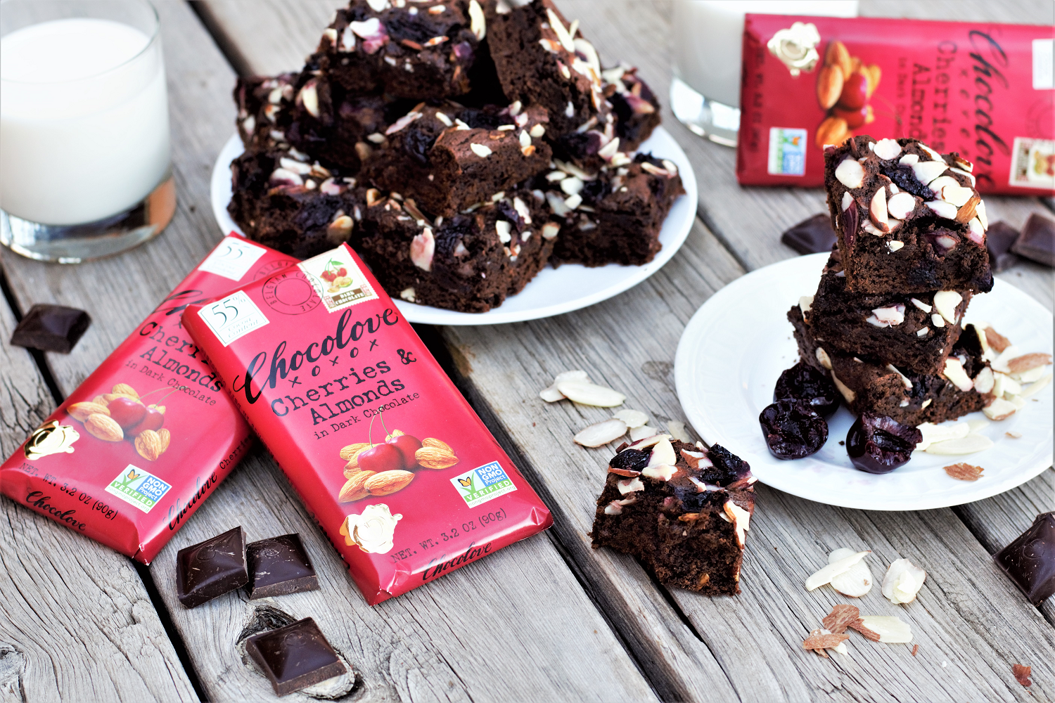 Loaded brownies smash sweet cherries, crunchy roasted almonds, and rich dark chocolate together into majorly indulgent dessert bliss!