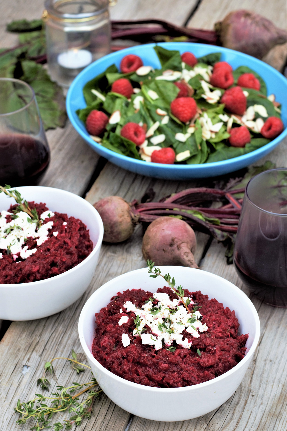 Impress your Valentine with this brilliantly garnet beetroot risotto with creamy goat cheese & earthy thyme, packed with a whole pound of fresh beets for a light & refreshing meal!
