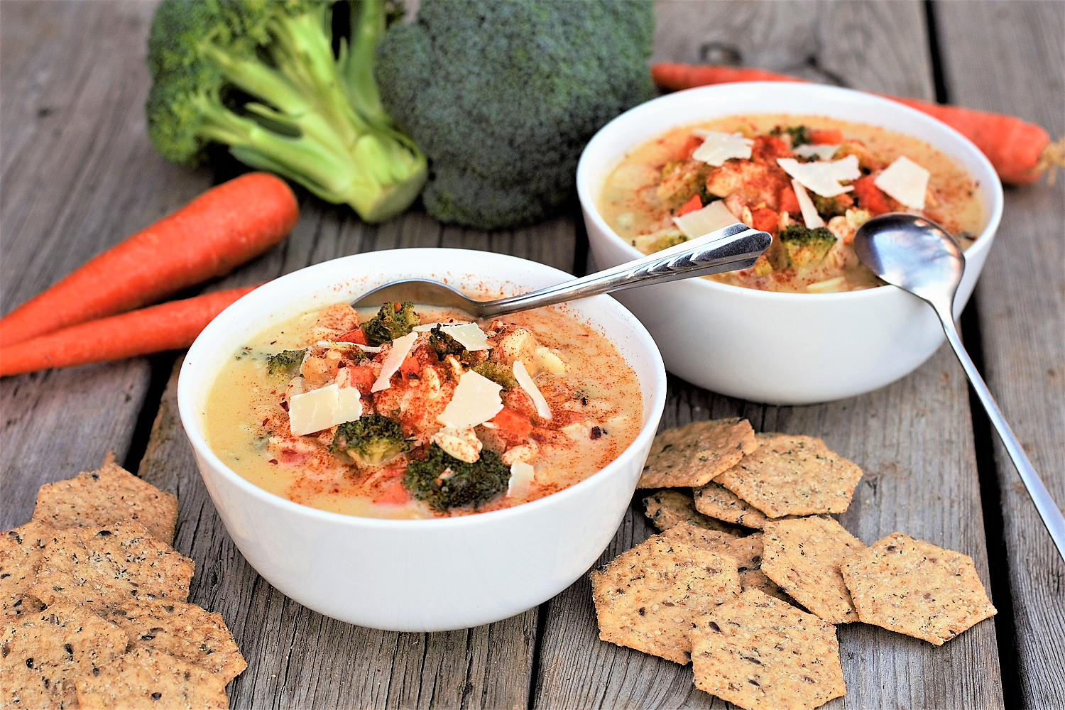 Classic casserole flavors remade into a velvety, healthyish soup! Packed with chicken, broccoli, & three kinds of cheese - good enough to make a Midwestern casserole man very happy.