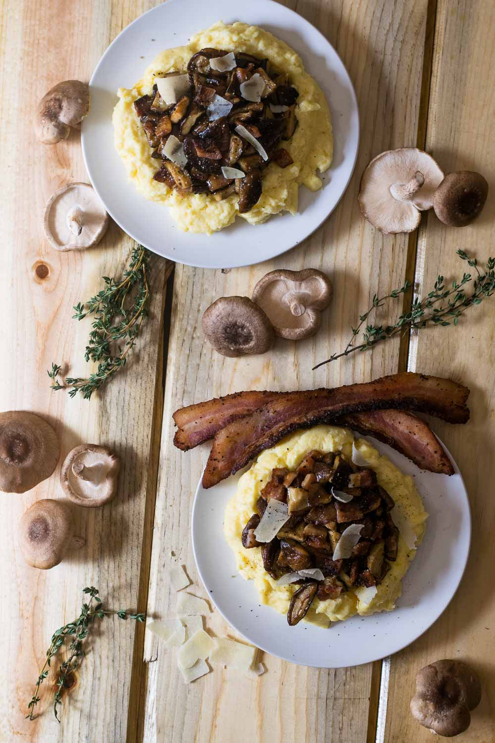 Mushrooms + bacon + parmesan over creamy goat cheese polenta are a powerhouse of flavor! Don't limit carbonara only to pasta - this is the perfect way to wrap up winter comfort food.