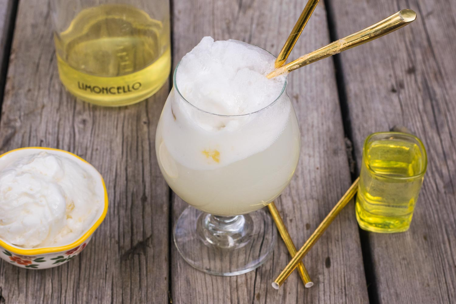 Enjoy the dog days of summer with a deliciously bubbly, wonderfully refreshing frozen treat of tart sherbet melting into sweet lemon liqueur!