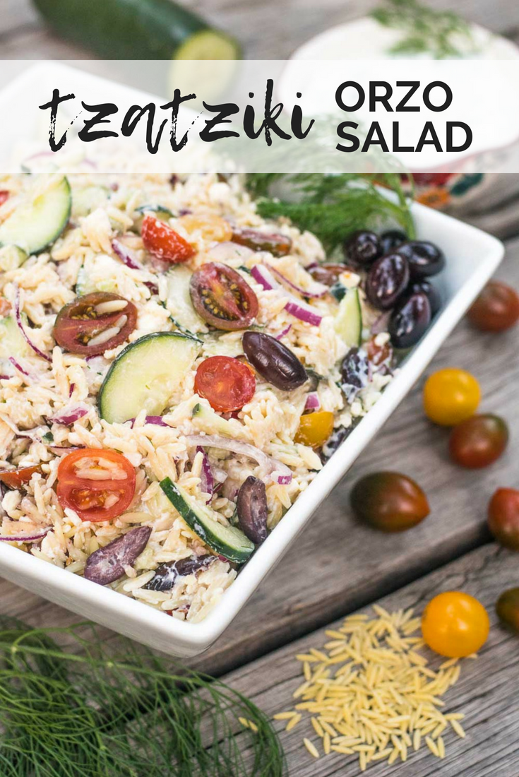 Greek-inspired pasta salad starring homemade tzatziki - aka delicious tangy yogurt sauce - that's loaded with fresh veggies and perfect for picnics! #tzatziki #pastasalad #greek | mountaincravings.com