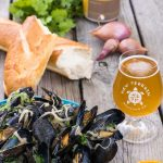 Celebrating Great American Beer Festival with craft beer recipes from Golden, Colorado! New Terrain's Suntrip makes the perfect broth for mussels, fennel, & shallots.
