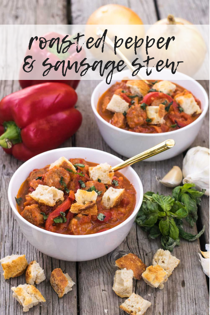 Embrace the cozy flavors of fall with a rustic stew of roasted red peppers, fresh basil, & sausage! Equally perfect for forest campsites & home kitchens. #roastedpeppers #sausage #stew #fallflavors #glutenfree | mountaincravings.com