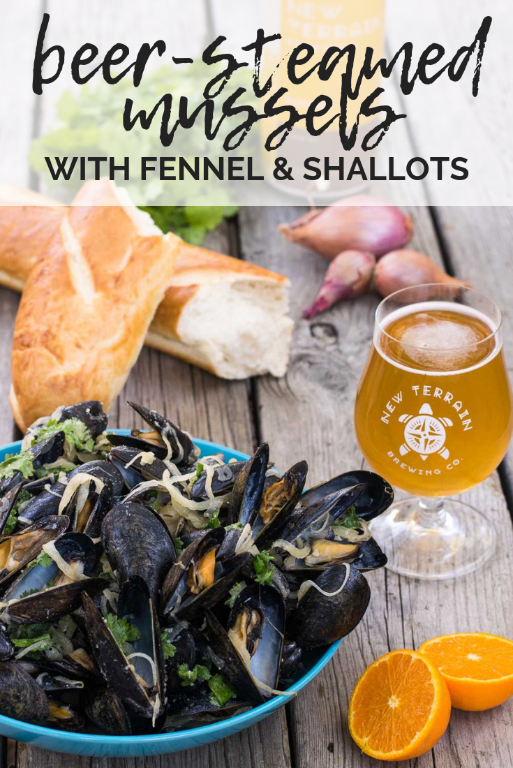 Celebrating Great American Beer Festival with craft beer recipes from Golden, Colorado! New Terrain's Suntrip makes the perfect broth for mussels, fennel, & shallots. #mussels  #fennel #beer #GreatAmericanBeerFestival #GABF #ad | mountaincravings.com