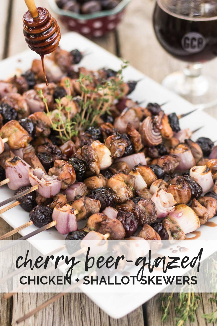 Celebrating Great American Beer Festival with craft beer recipes from Golden, Colorado! Chicken, shallots, & cherries seared on the grill and glazed with cherry beer from Golden City Brewery. #chicken #cherries #beer #GreatAmericanBeerFestival #GABF #ad | mountaincravings.com