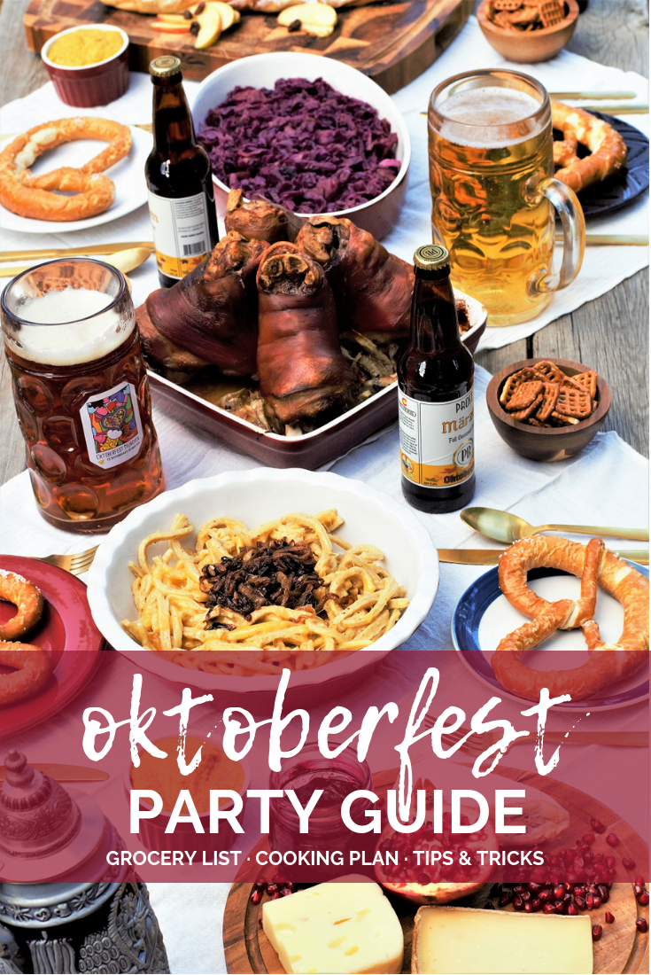 All-in-one guide for hosting your own Oktoberfest feast: roasted pork knuckle, sweet-tart red cabbage, cheesy noodle dumplings, & flaky apple strudel! #oktoberfest #partyguide #schweinshaxe #käsespätzle #rotkohl #apfelstrudel | mountaincravings.com